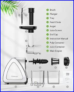 Homever Slow Masticating Juicer Extractor Cold Press Juicer All Fruit & Veggies