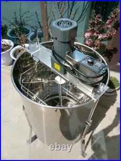 New 4 Frame Electric Honey Extractor Stainless Steel Beehive Drum Bee 110V Farm