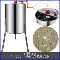 New Four 4/8 Frame Stainless Steel Bee Honey Extractor SS Honeycomb Drum