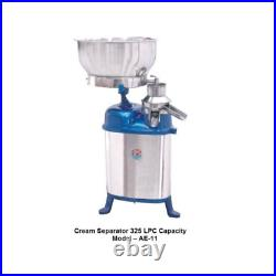 Stainless Steel Single Phase Cream Separator with 325 LPH Capacity